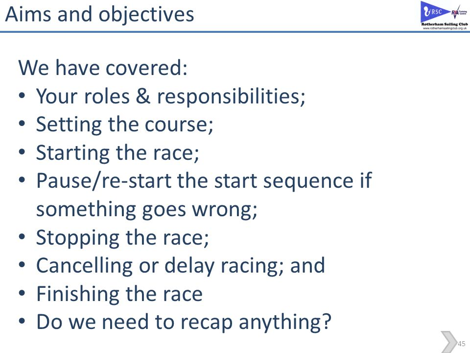 Aims and objectives We have covered: Your roles & responsibilities; Setting the course; Starting the race;