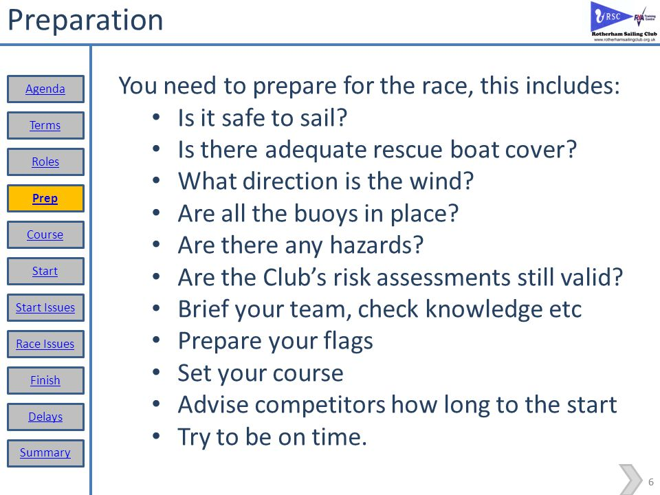 Preparation You need to prepare for the race, this includes:
