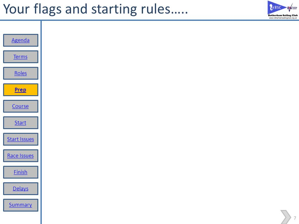 Your flags and starting rules…..