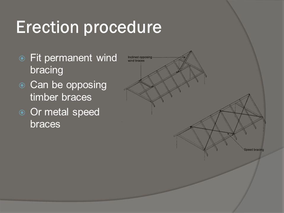 Erection procedure Fit permanent wind bracing