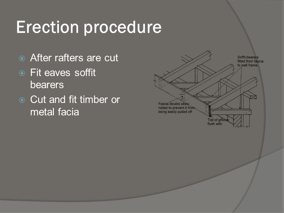 Erection procedure After rafters are cut Fit eaves soffit bearers