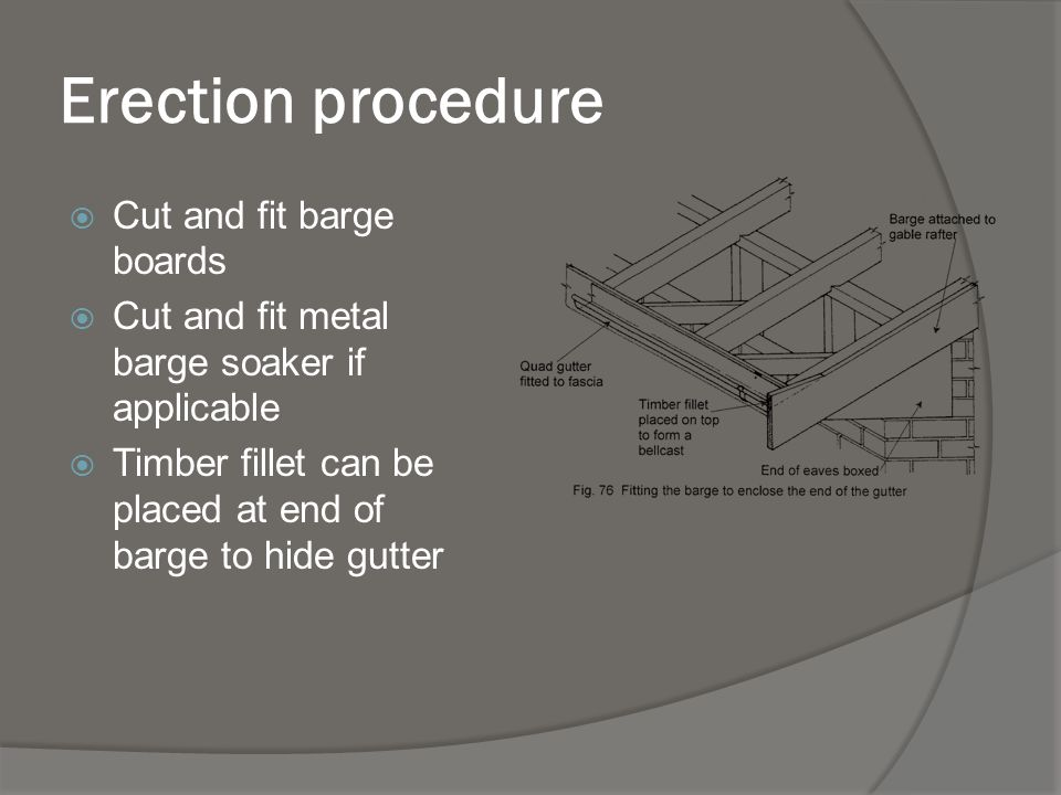 Erection procedure Cut and fit barge boards