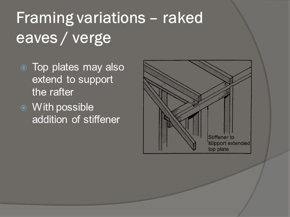 Framing variations – raked eaves / verge