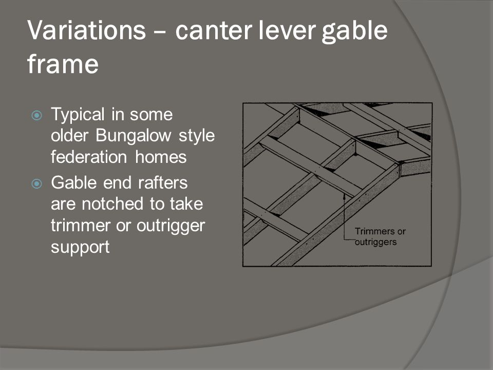Variations – canter lever gable frame