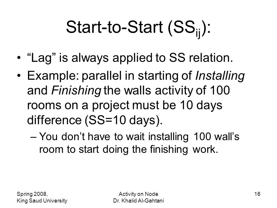 Start-to-Start (SSij):