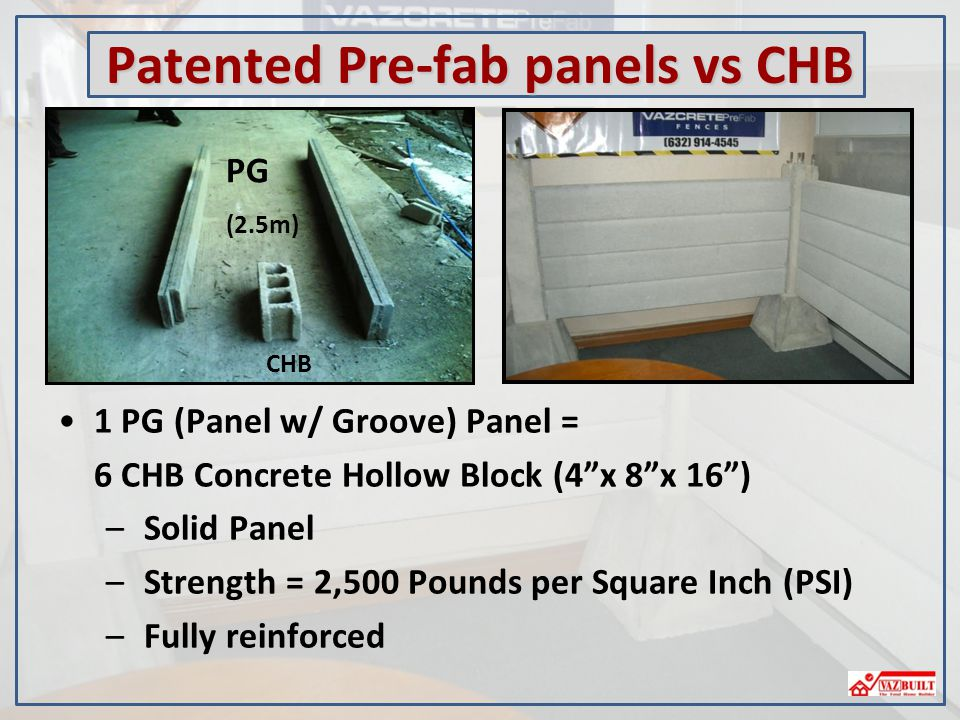Patented Pre-fab panels vs CHB