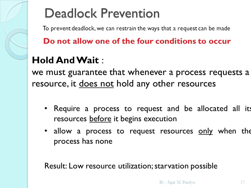 Do not allow one of the four conditions to occur.