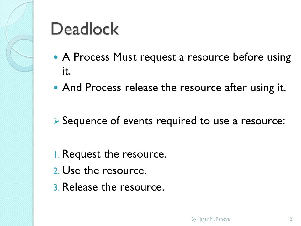 Deadlock A Process Must request a resource before using it.