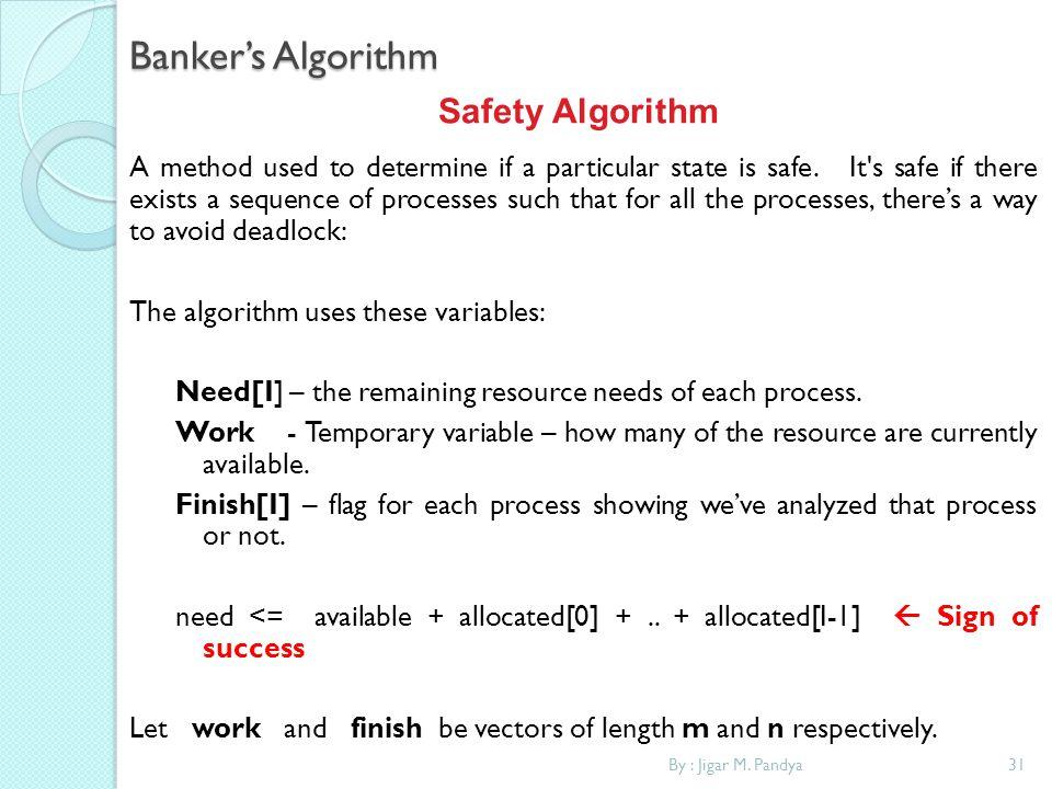 Banker's Algorithm Safety Algorithm