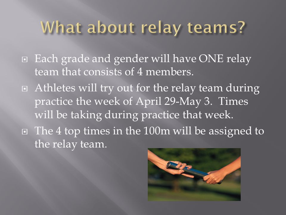 What about relay teams Each grade and gender will have ONE relay team that consists of 4 members.