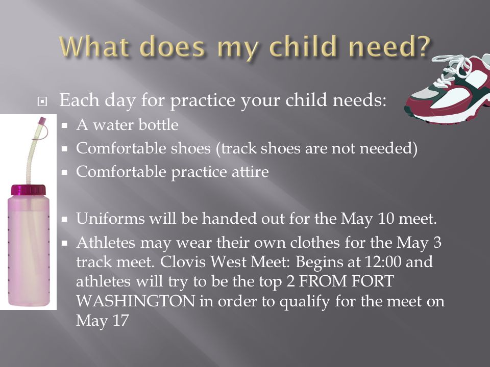 What does my child need Each day for practice your child needs: