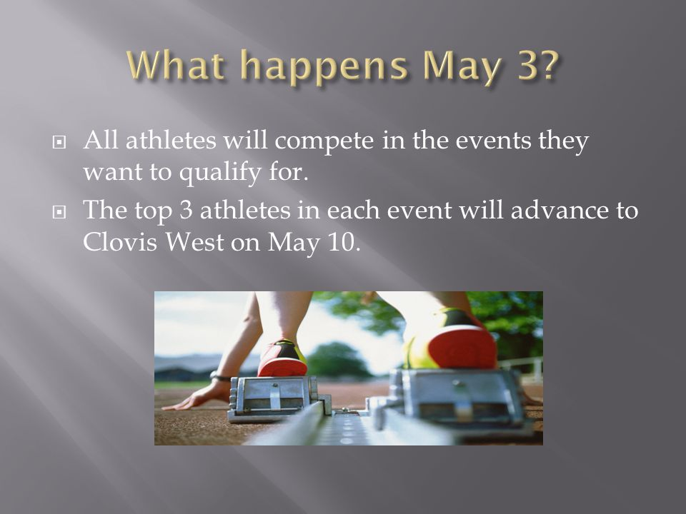 What happens May 3 All athletes will compete in the events they want to qualify for.