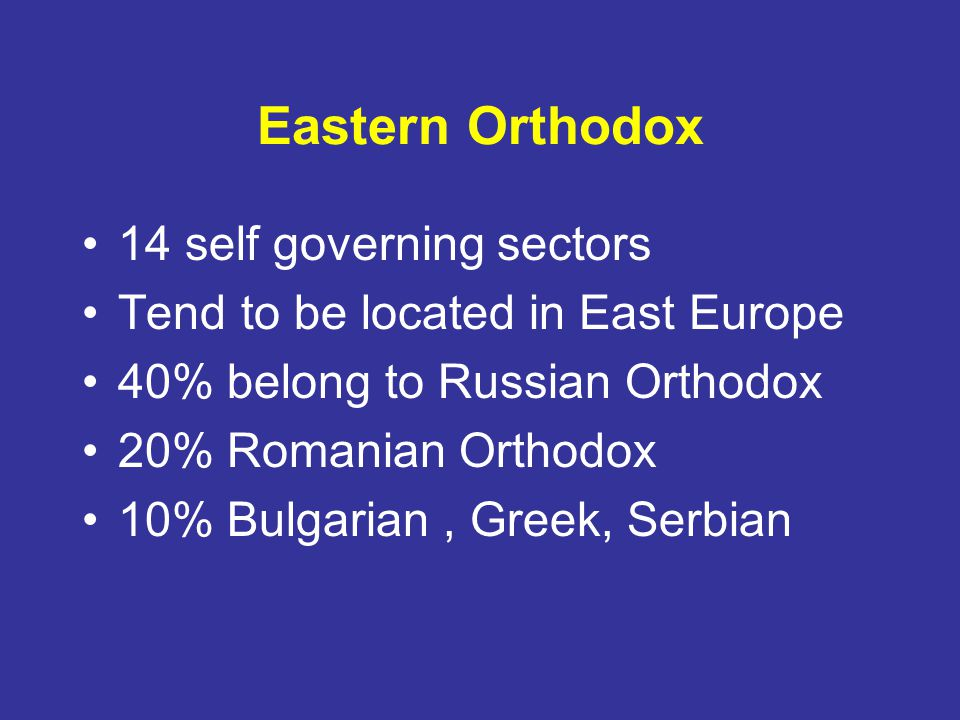 Eastern Orthodox 14 self governing sectors
