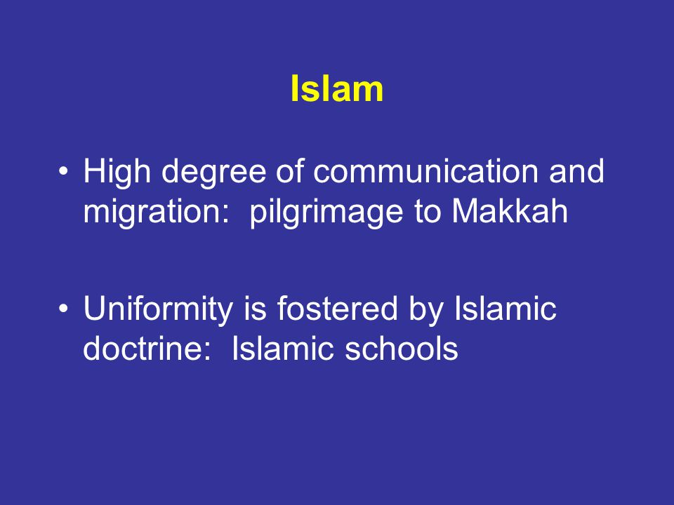 Islam High degree of communication and migration: pilgrimage to Makkah