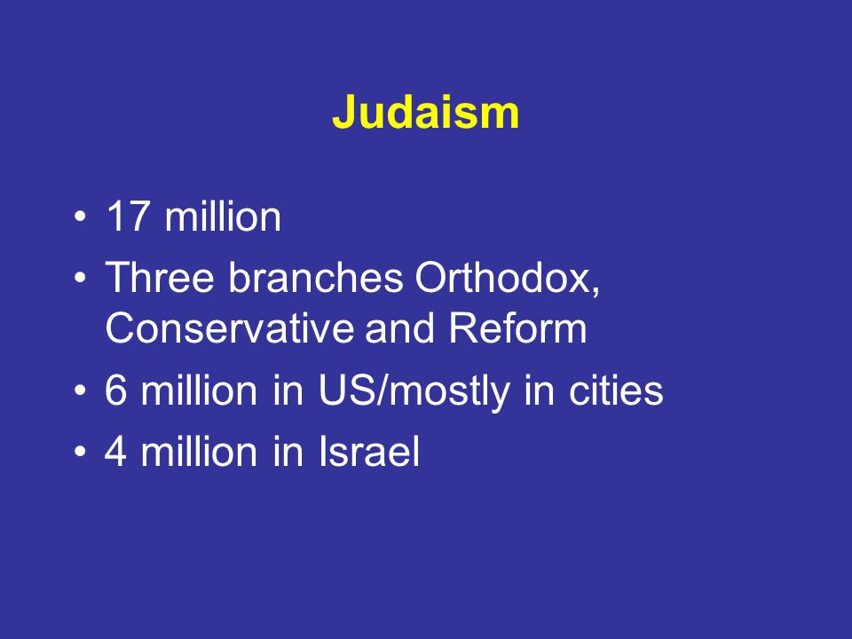 Judaism 17 million Three branches Orthodox, Conservative and Reform