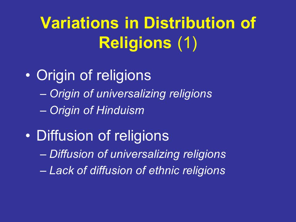 Variations in Distribution of Religions (1)