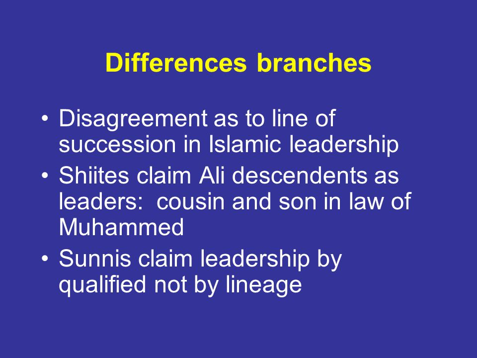 Differences branches Disagreement as to line of succession in Islamic leadership.