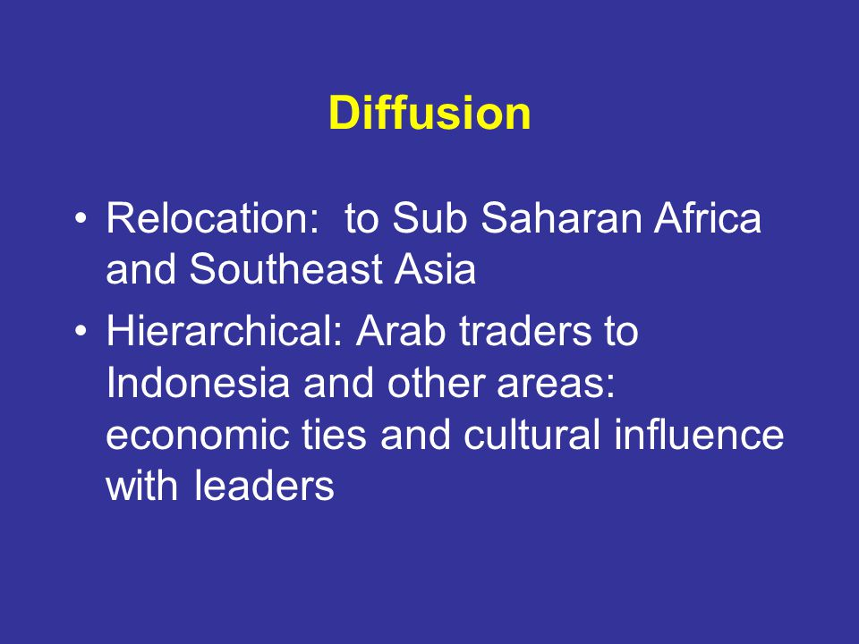 Diffusion Relocation: to Sub Saharan Africa and Southeast Asia