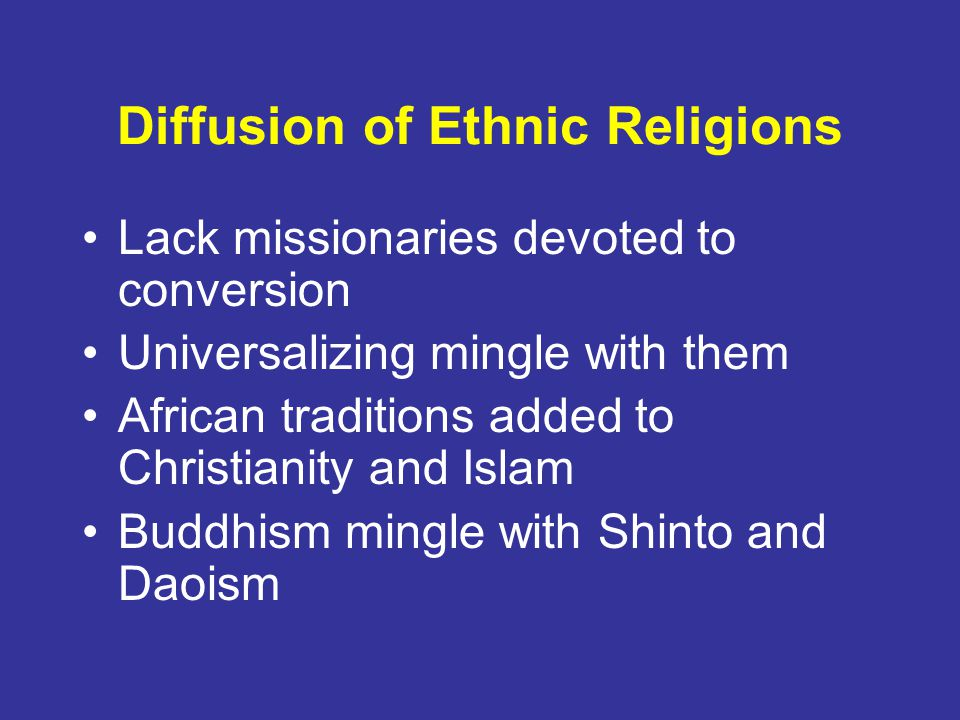 Diffusion of Ethnic Religions