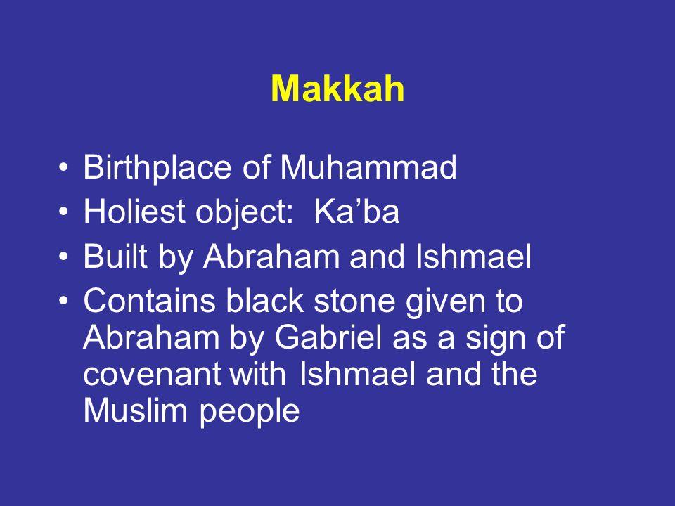 Makkah Birthplace of Muhammad Holiest object: Ka'ba