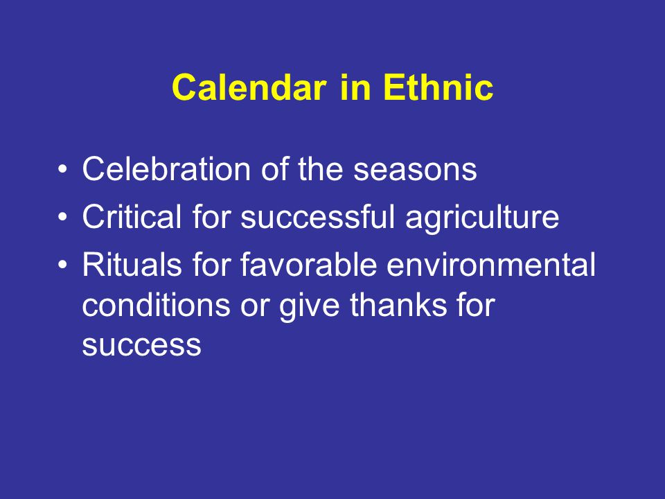 Calendar in Ethnic Celebration of the seasons