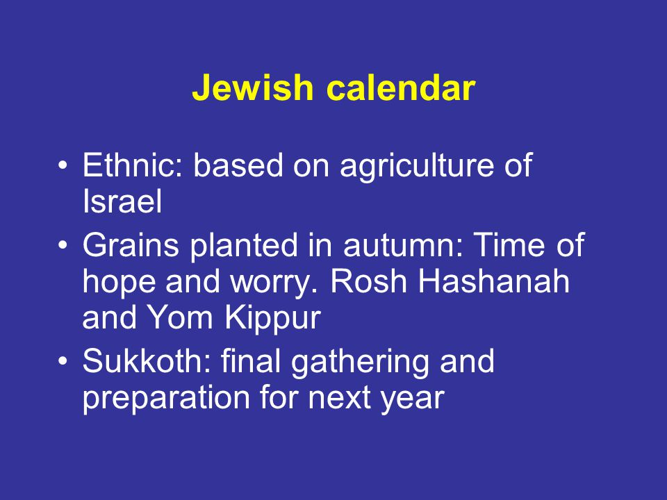 Jewish calendar Ethnic: based on agriculture of Israel