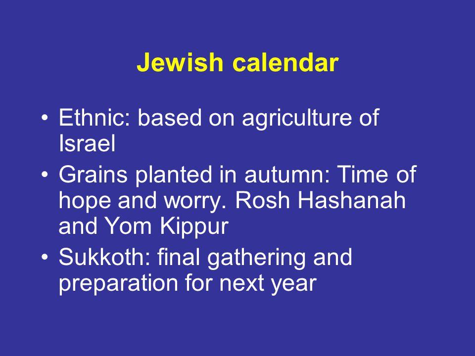 Jewish calendar Ethnic: based on agriculture of Israel