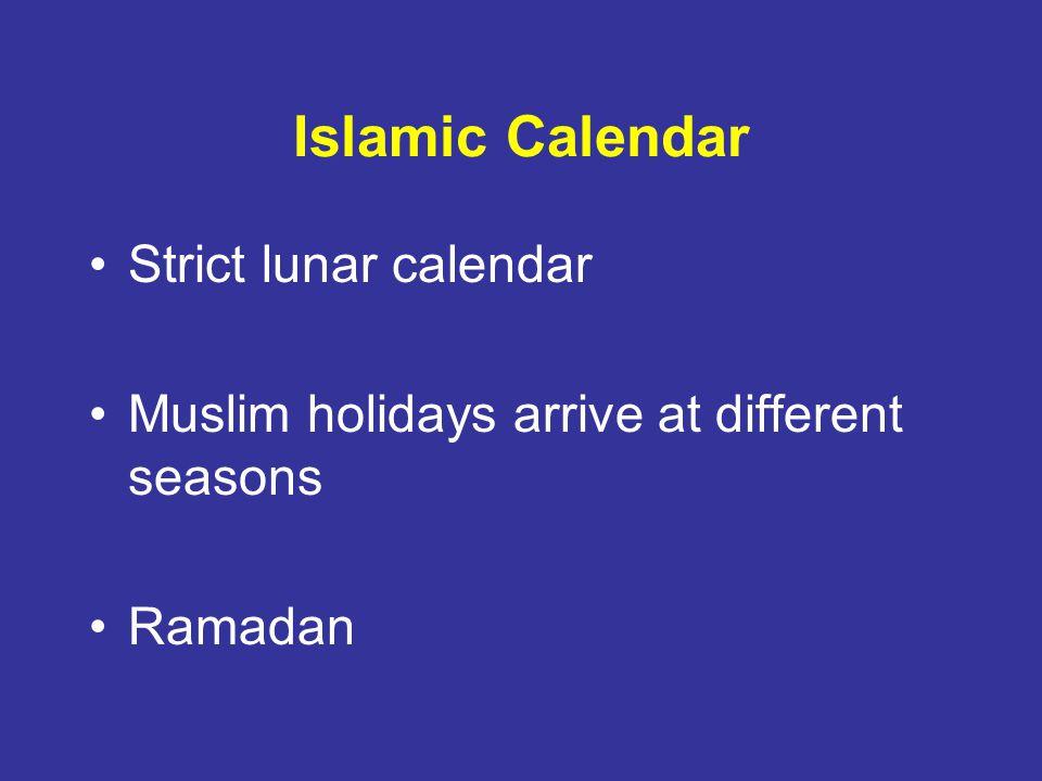 Islamic Calendar Strict lunar calendar