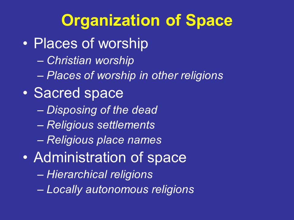 Organization of Space Places of worship Sacred space