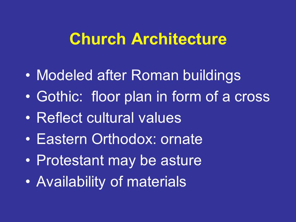 Church Architecture Modeled after Roman buildings