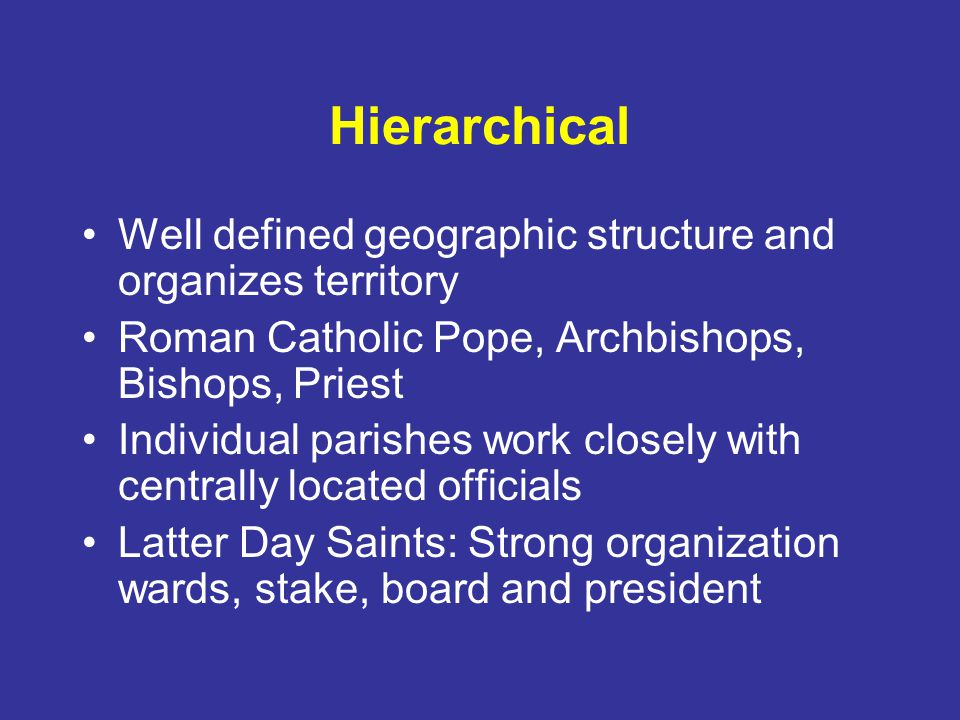 Hierarchical Well defined geographic structure and organizes territory