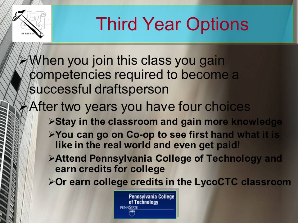 Third Year Options When you join this class you gain competencies required to become a successful draftsperson.