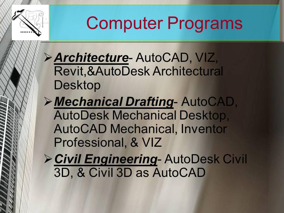 Computer Programs Architecture- AutoCAD, VIZ, Revit,&AutoDesk Architectural Desktop.