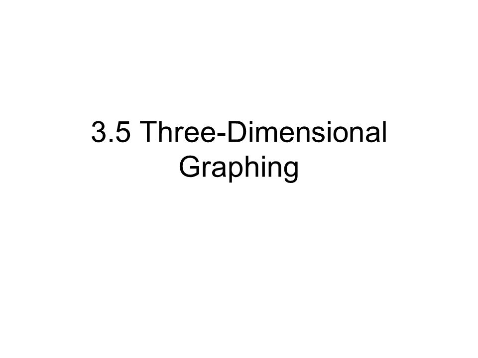 3.5 Three-Dimensional Graphing