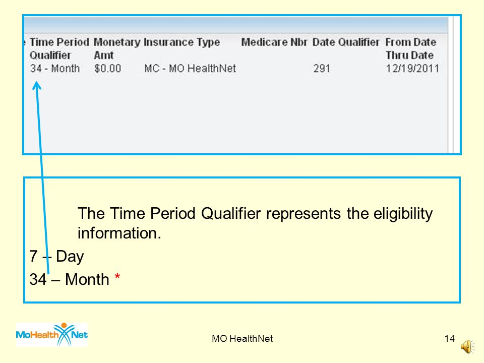 The Time Period Qualifier represents the eligibility information.