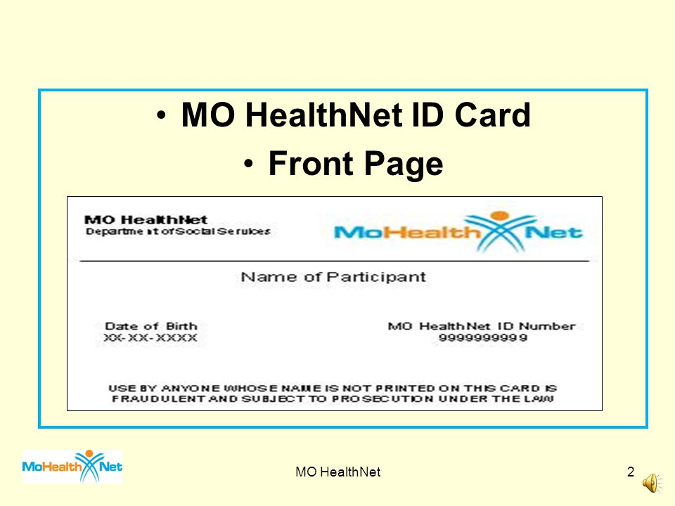 MO HealthNet ID Card Front Page