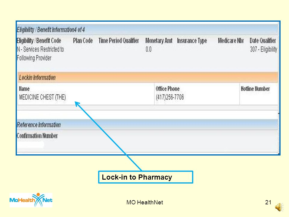 Lock-in to Pharmacy MO HealthNet