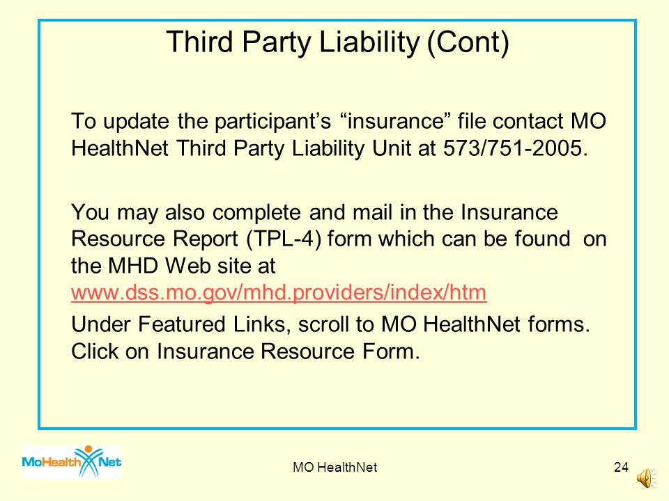 Third Party Liability (Cont)