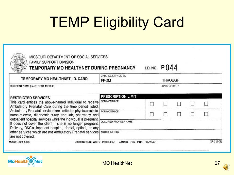 TEMP Eligibility Card MO HealthNet
