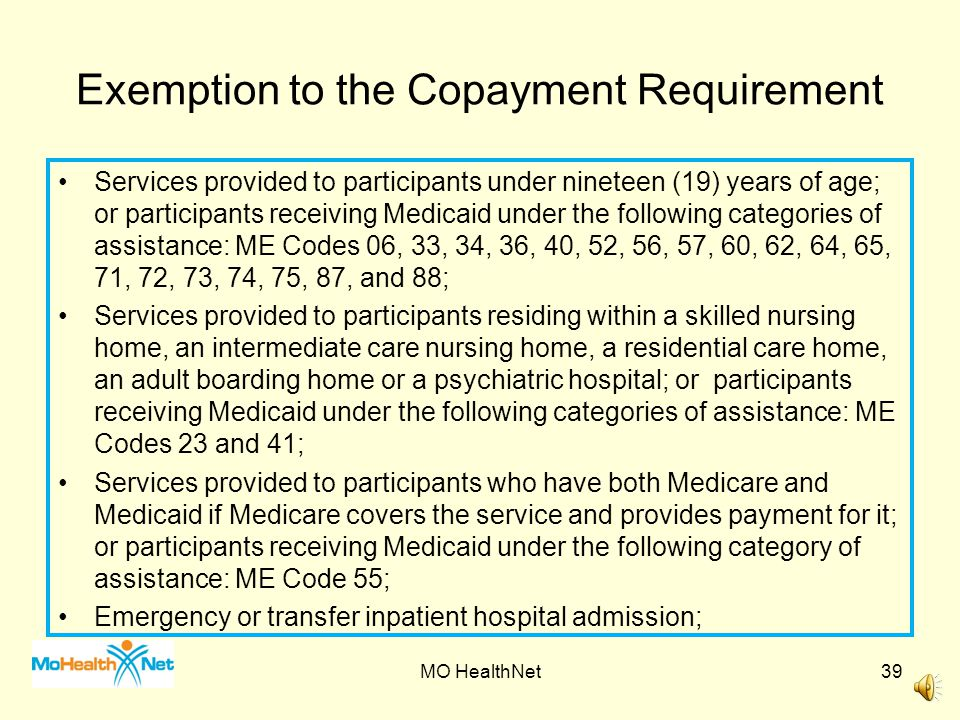Exemption to the Copayment Requirement