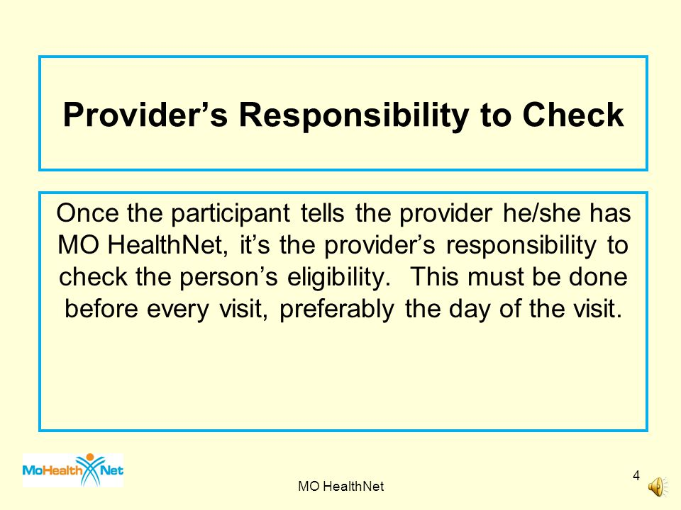 Provider's Responsibility to Check