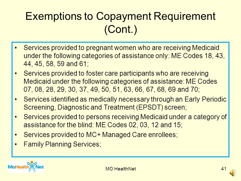 Exemptions to Copayment Requirement (Cont.)