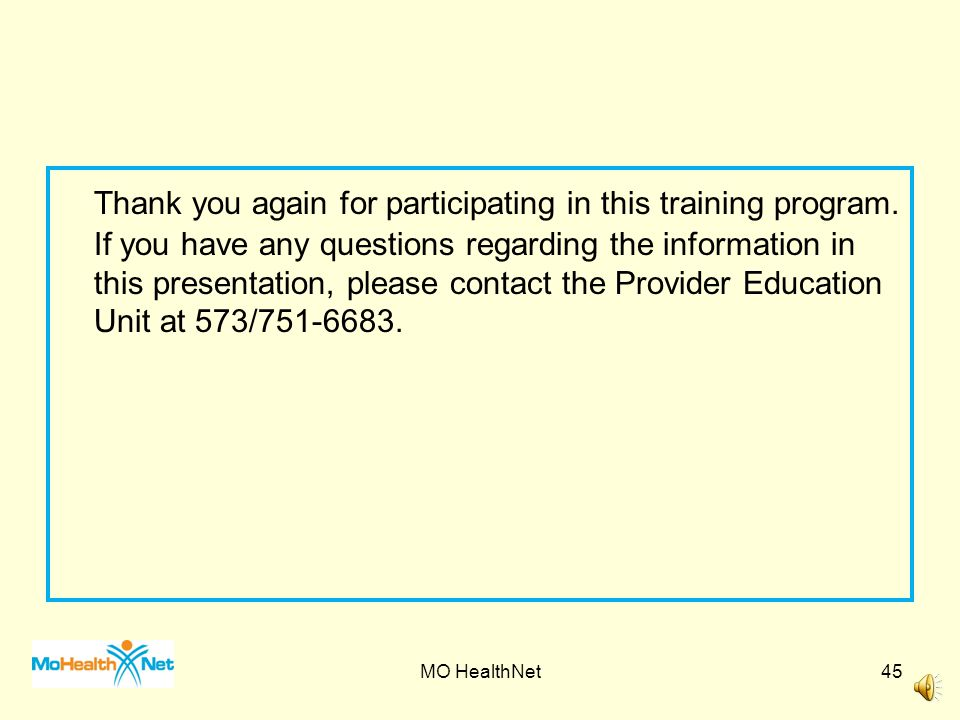 Thank you again for participating in this training program