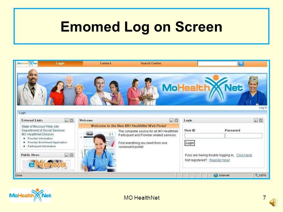 Emomed Log on Screen MO HealthNet