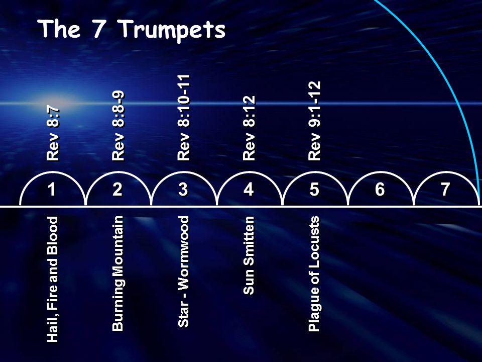 The 7 Trumpets 1 2 3 4 5 6 7 Rev 8:10-11 Rev 9:1-12 Rev 8:8-9 Rev 8:12
