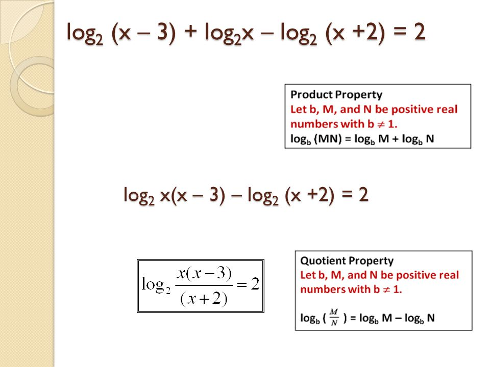 log2 (x – 3) + log2x – log2 (x +2) = 2