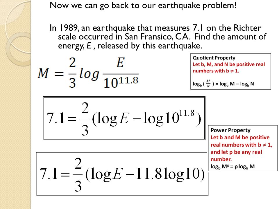 Now we can go back to our earthquake problem