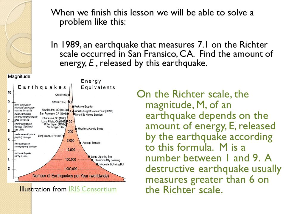 When we finish this lesson we will be able to solve a problem like this: In 1989, an earthquake that measures 7.1 on the Richter scale occurred in San Fransico, CA. Find the amount of energy, E , released by this earthquake.