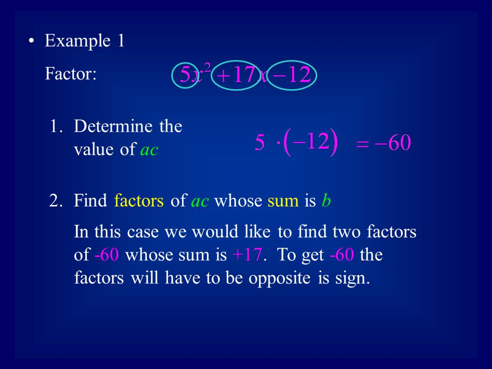 Example 1 Factor: Determine the value of ac. Find factors of ac whose sum is b.