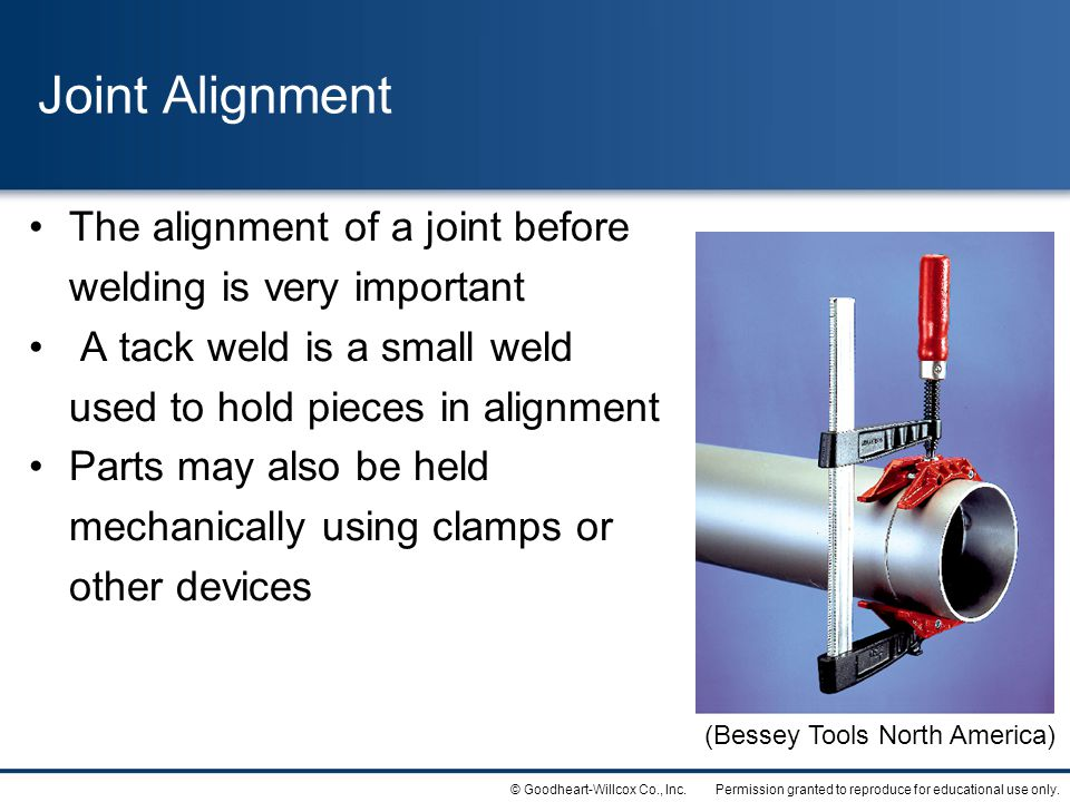 Joint Alignment The alignment of a joint before